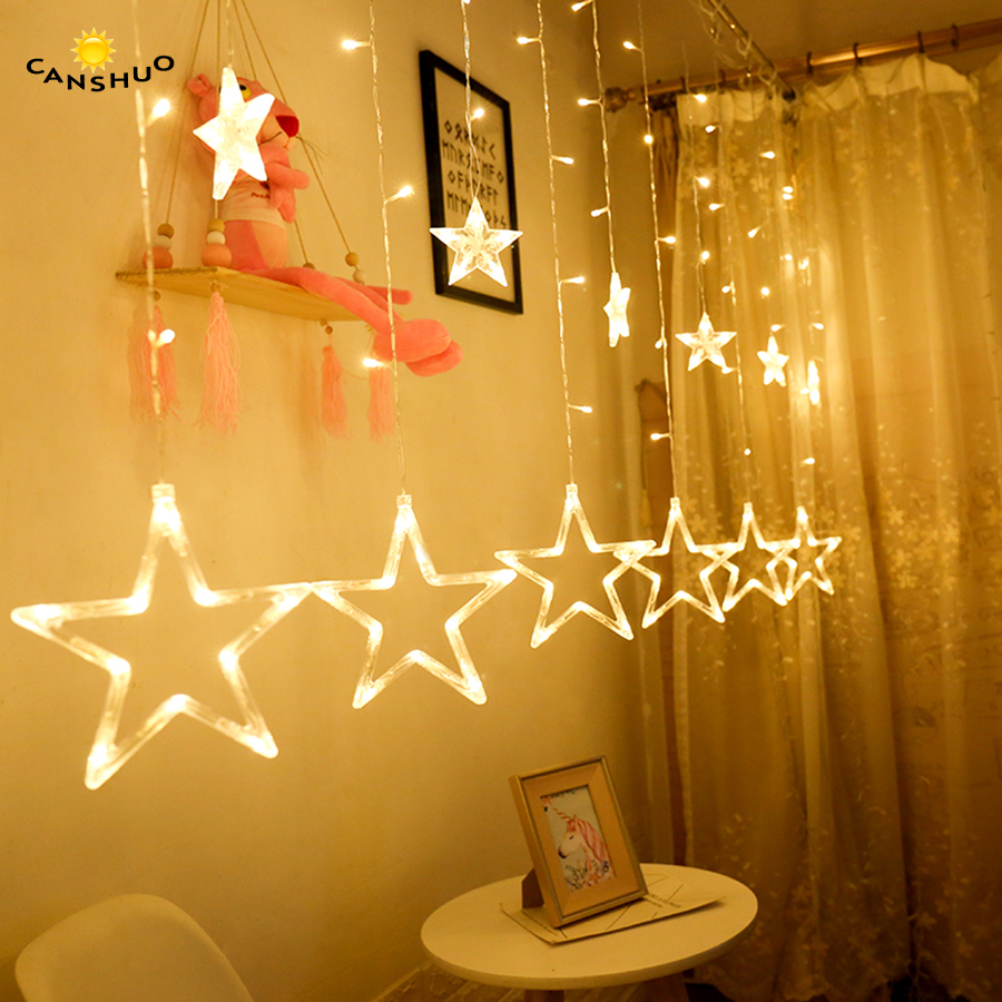 все цены на CANSHOU Holiday Lighting LED Fairy Star Curtain String luminarias Garland Decoration Christmas Wedding Pentagram String Light