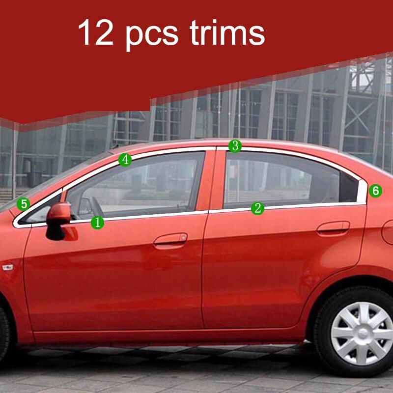 Lsrtw2017 304 garnitures de fenêtre de voiture en acier inoxydable pour chevrolet sail 2010 2011 2012 2013 2014 2nd génération