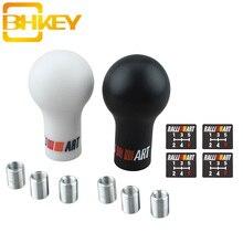 BHKEY RALLIART Universal 5/6 스피드 오토 기어 시프트 노브 미쓰비시 용 블랙/화이트 카 수동 변속기 (MT)