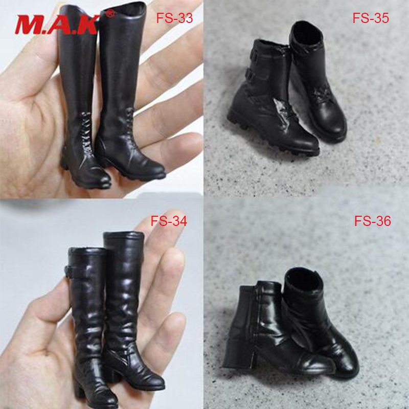 Liberal Hot 1/6 Female 1/6 Scale Fs33-fs36 Black Boots Empty Inside Shoes Fit For 12 Female Action Figure Model Toys Gift Collection Possessing Chinese Flavors Action & Toy Figures