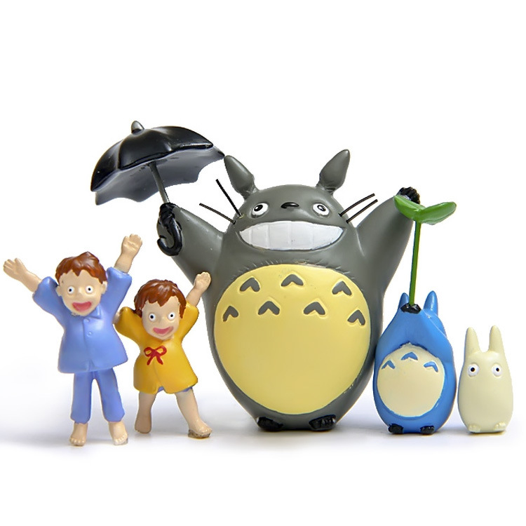 5pcs/lot Totoro figurines umbrella toys set 2016 New kawaii Japanese Anime classic combination pray at night Chinchilla DIY TOY