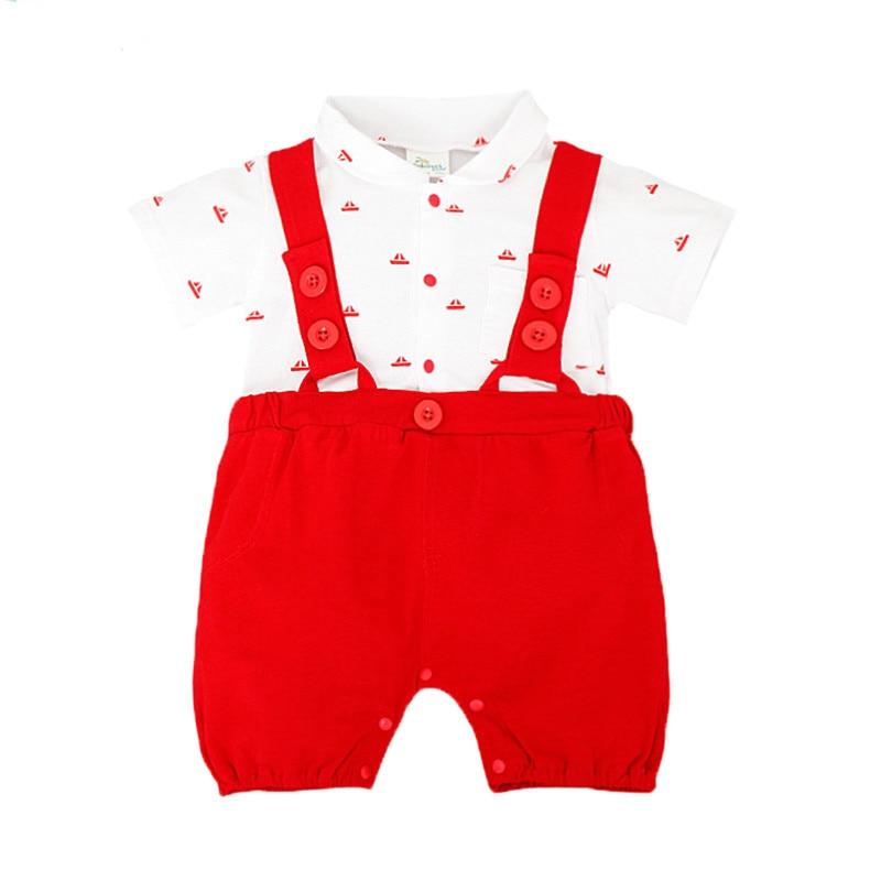 Nowe letnie pajacyki dla niemowląt Chłopcy ubrania kraciaste - Odzież dla niemowląt - Zdjęcie 2