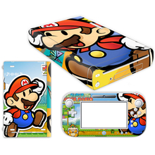 Pegatina de piel de Super Mario para la cubierta de la consola Wii U de Nintendo, con controles remotos, pieles para la pegatina de Nintendo wii u