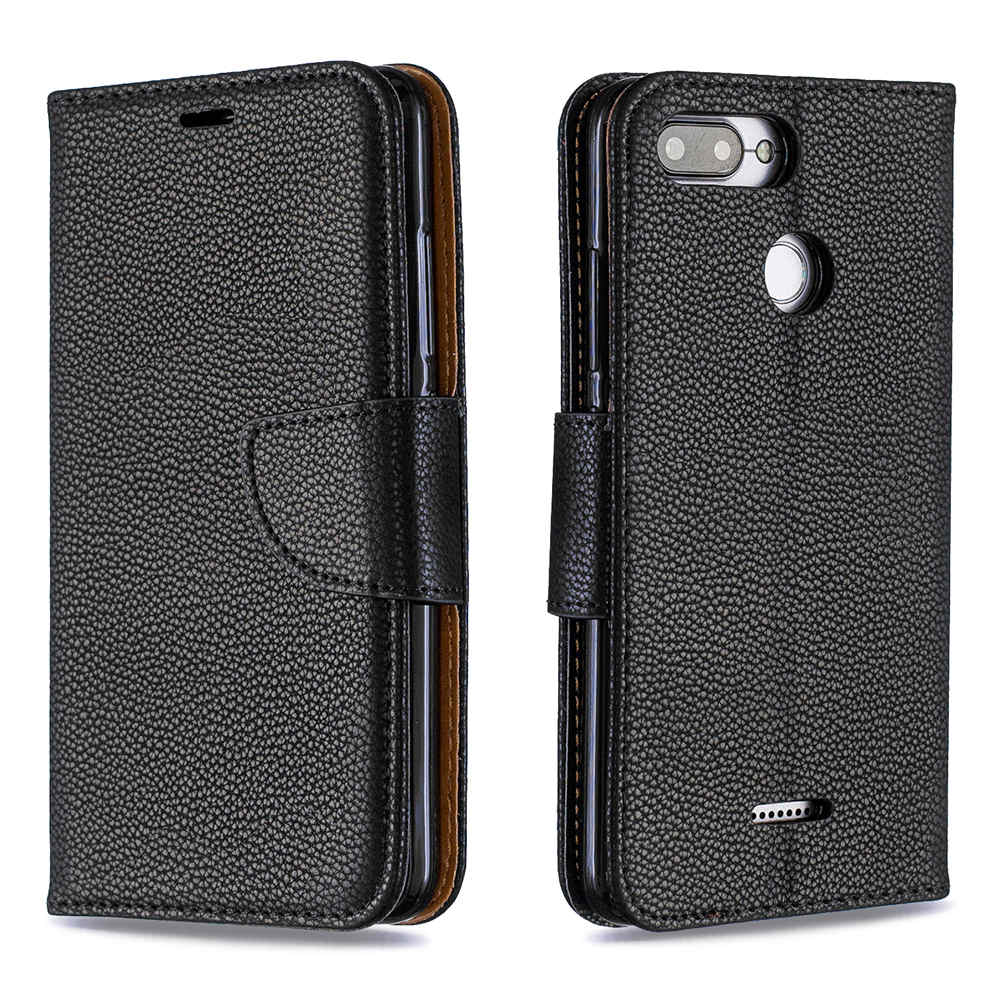 Luxury Litchi Leather Case For Xiaomi Redmi 6 Case For Xiaomi Redmi 6 Pro Case Cover Flip Wallet Book Phone Cases With Lanyard in Flip Cases from Cellphones Telecommunications