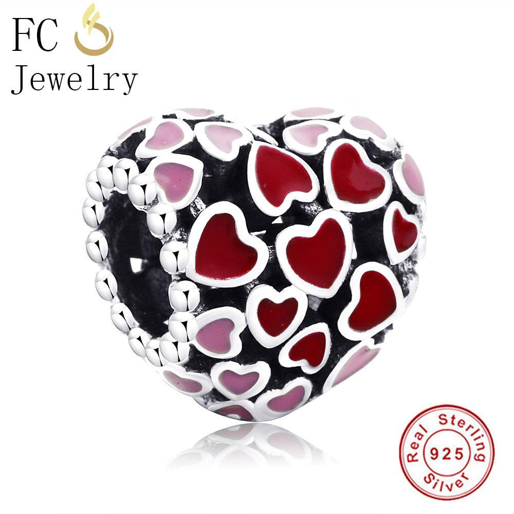 FC Jewelry Fit Original Pandora Charms Bracelets Authentic 925 Silver Pink Enamel Love Heart CZ Stone Beads Making Berloque DIY