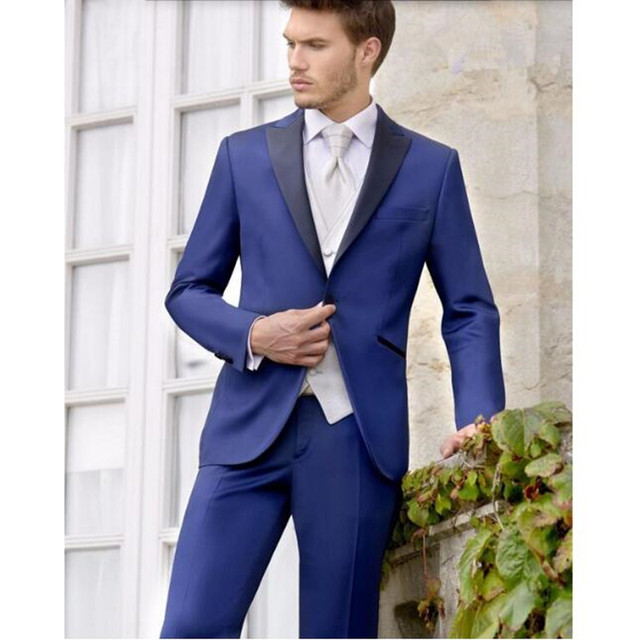 ef0fcd7d44 NE de Trajes por encargo Trajes azul marino novio Trajes Esmoquin negro  solapa hombres wedding prom