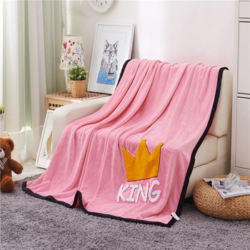 Quality Fashion Pink Patched King Crown Plush Faux Mink Flannel Fleece Blanket Throw Twin/Full/Queen Size Bed/Sofa/Air Cover