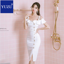 04eed8825e classy dress women white clothes summer 2018 Off Shoulder Ruffles Sleeve  Button Split Dress Office Work