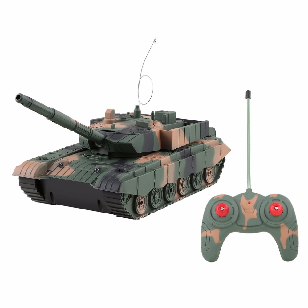 1:20 4CH Power Remote Control Tank Military Vehicle  Armored Tank Battle Tanks Turret Rotation  Light & Music RC Model Kids Toys vehicle