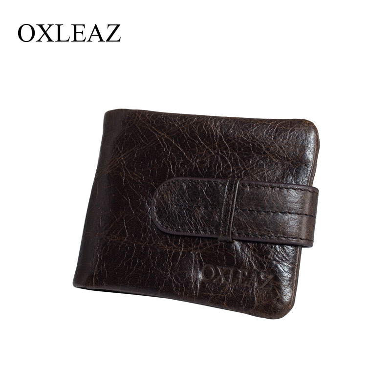 OXLEAZ Mens Vintage Short Casual Cowhide Oil Wax Genuine Leather Men Bifold Wallet Purse Male Zipper Wallets with Coin Pocket oufankadi genuine leather wallet fashion short bifold men wallet casual soild men wallets with pocket purse male wallets