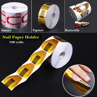 500PCS/Roll Nail Art Forms Horseshoe/Square Sculpting Tips Sticker Guide Extension Acrylic UV Gel Tools Paper Tray Golden