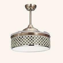 Led concealed ceiling fan lamp crystal remote control hidden ceiling fan lamp stylish living room restaurant fan Pendant