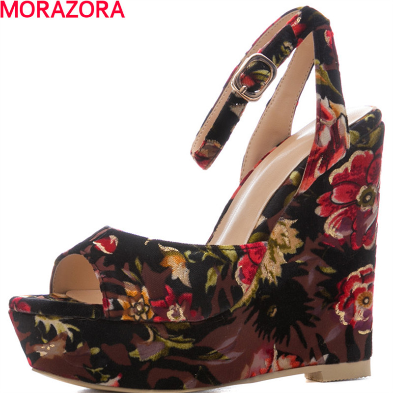 цены MORAZORA 2018 summer new women cloth fashion peep toe high heels sandals wedges shoes party shoes size 34-41