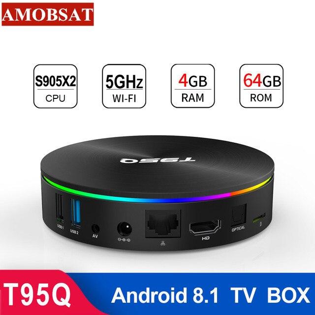 T95Q 4 GB 64 GB TV BOX Android 8.1 LPDDR4 Amlogic S905X2 Quad Core 2.4G & 5 GHz double Wifi BT4.1 1000 M H.265 4 K lecteur multimédia PK mi box