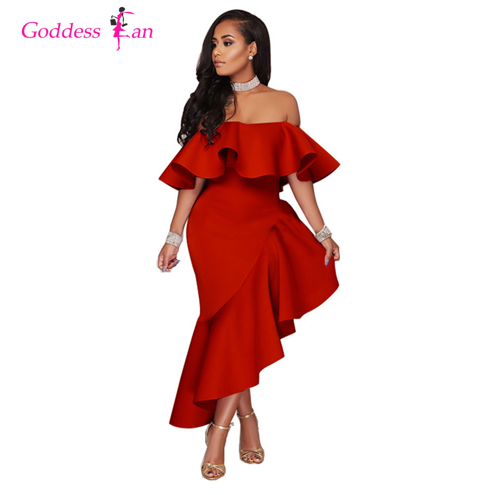 Women's New 2018 Slash Neck Ruffles Irregular Solid Color Yellow Red Black Lady Plus Size Dress Female Sexy Dresses