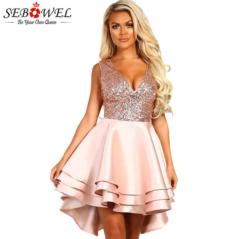 7364a01c2f SEBOWEL Gold Sequin Skater Dresses Woman Sleeveless Glitter Sexy V-neck  Backless Ball Gown Satin