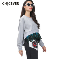 CHICEVER 2016 Fshion New Super Feather Splicing Detachable Cocoon Style Asymmetric Long Sleeve Sweatshirts Women