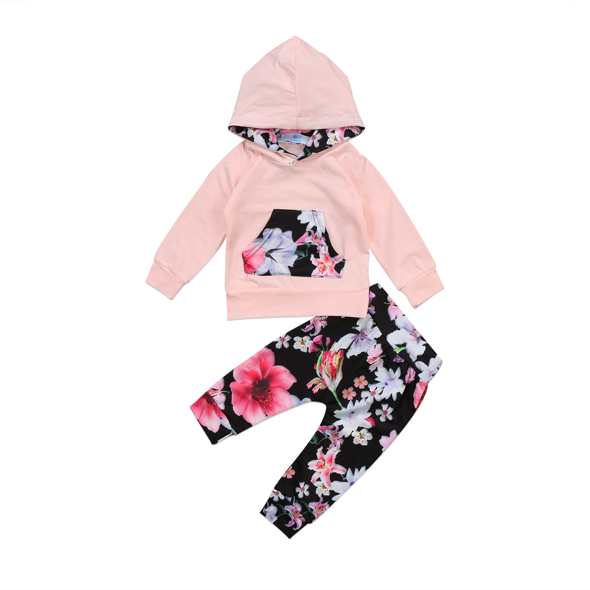 Infant Baby Girl Clothing Floral Hooded Tops Long Sleeve Top Pants Flower Cute Outfits Clothes Set Baby Girls