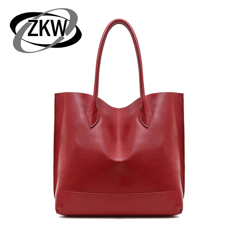 ZKW 2019 Women's  Luxury Handbag Cow Leather Bag For Casual Total Fashion Bag Cowhide Large Capacity Messenger Bags