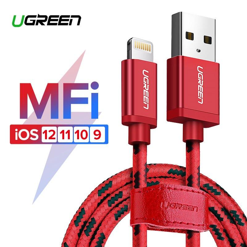 Ugreen para iPhone Cable Lightning a USB Cable para iPhone 8 Xs Max XR 7 rápido Cable de carga del teléfono móvil cable USB cargador de Cable