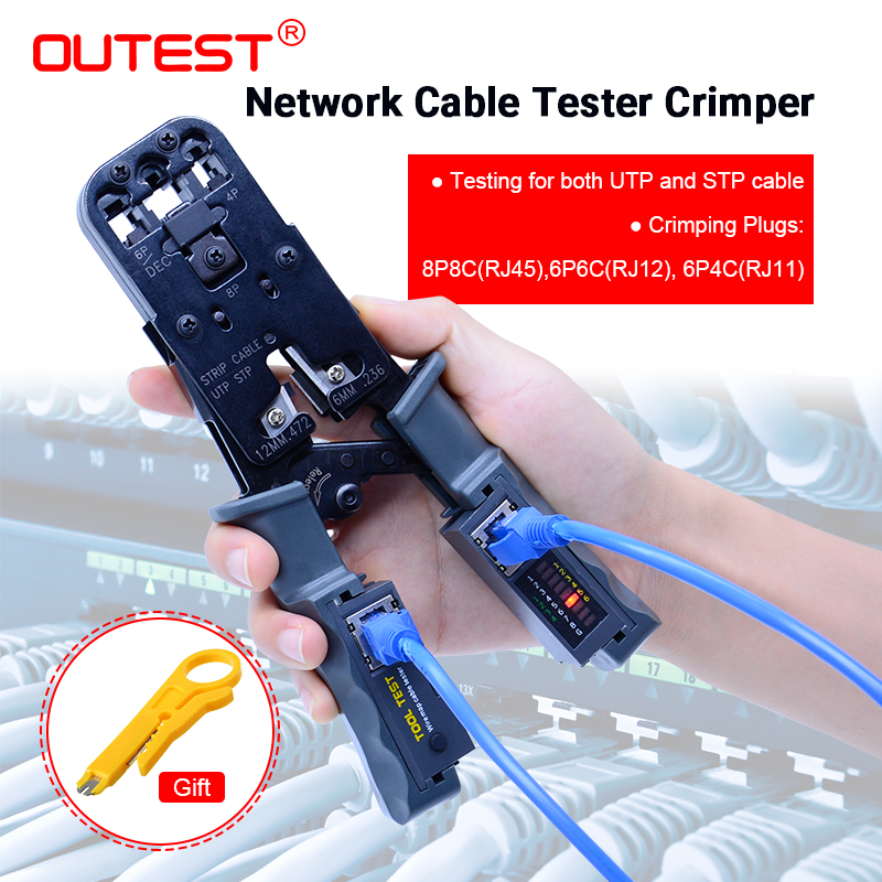OUTEST Réseau Outil Test Pince À Sertir Tester sertir Câble Décapant câble Détachable tests pour UTP et STP câbles avec Cadeau