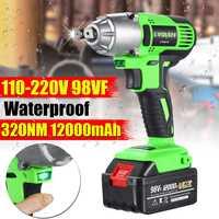 98VF 110 240V Cordless Electric Wrench Impact Socket Wrench 12000mAh Li Battery Hand Drill Installation Power Tools
