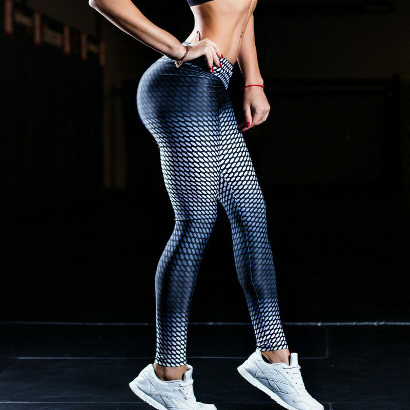 Prix pour 2017 Yoga Pantalon Femmes De Yoga Leggings Bleu Gradient Impression Femmes Gym Vêtements Sport Collants Leggins Remise En Forme Pantalon de Course Leggings