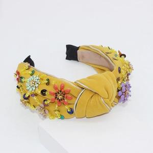 Image 3 - New European and American Baroque rice beads headband Bohemian fashion flowers wrapped personality dance headband 950