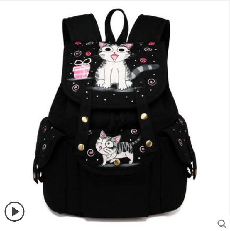 цена на 2018 new canvas backpack Korean version of the large-capacity backpack student bag anime hand-painted chi's sweet home backpack