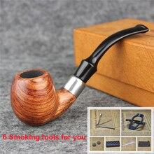 Raucher 6 Rauchen Werkzeuge Palisander Rauchtabak Rohr Mit Ring Hochwertige Holz Rohr für Rauchen AD0038