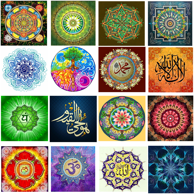 Tipos de Mandala completa Mosaico Pintura Broca Resina 5D Diy Pintura Diamante Bordado Cross Stitch Kit quarto Needlework Decorações