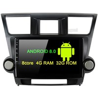 10.2 Android 8.0 Car Multimedia Player for Toyota Highlander Radio 2009 2010 2011 2012 with Octa Core Navigation GPS BT 4G LTE