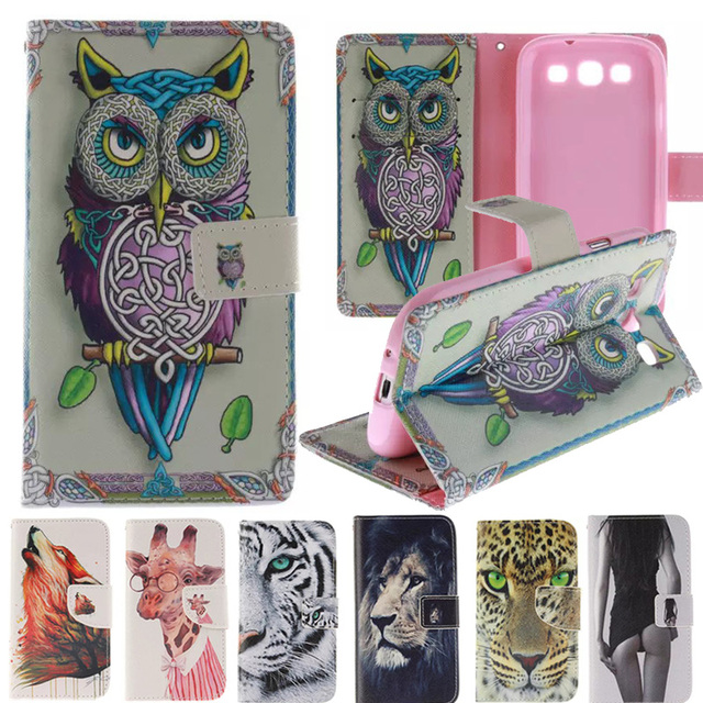 Animal Leather Case For Samsung Galaxy S3 Case Wallet + Silicone Flip Cover For Samsung Galaxy S3 i9300 Neo Case Card Holder
