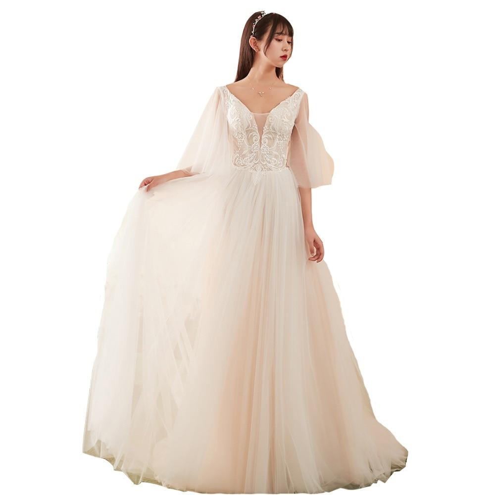 Illusion Wedding Dress 2019 Romantic Bridal Gown Elegent A Line Formal Dress Lace Bridal Dress Vestido De Noiva-in Wedding Dresses from Weddings & Events    1