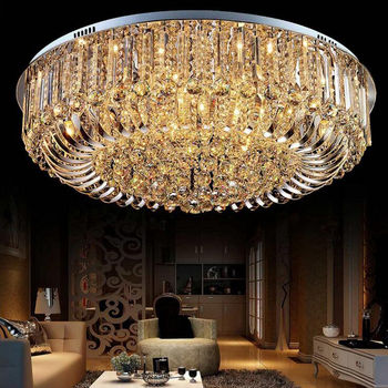 Ceiling lights crystal Modern Lamps Luxury lamps Chrome luminaria deckenleuchte Round Crystal Home Lighting LED Fixture