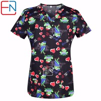 Hennar Women Scrub Top With V Neck Short Sleeve 100 Cotton Surgical Scrubs Top Stretchy Material