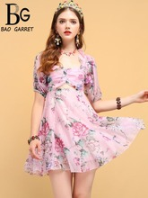 Baogarret Summer Fashion Designer Vintage Dress Women's Ruffles Mesh Overlay Backless Floral Printed Elegant Vacation Dress