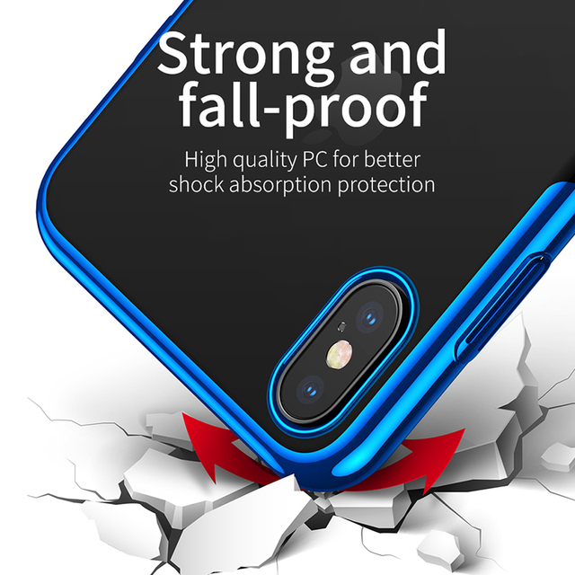 Baseus iPhone XS Max XR XS Max Transparent Hard PC Electroplating Protective Back Case Cover