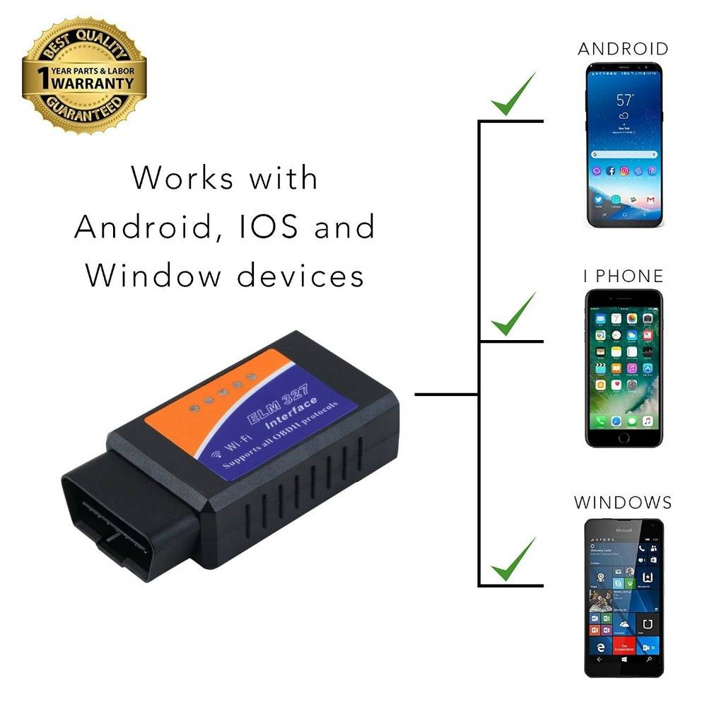 Elm327 wifi Scanner iCar elm 327 V1.5 OBD2 For IOS Android PC For iPhone iPad Car Code Reader Scan Tool elm 327 Bluetooth Adapte