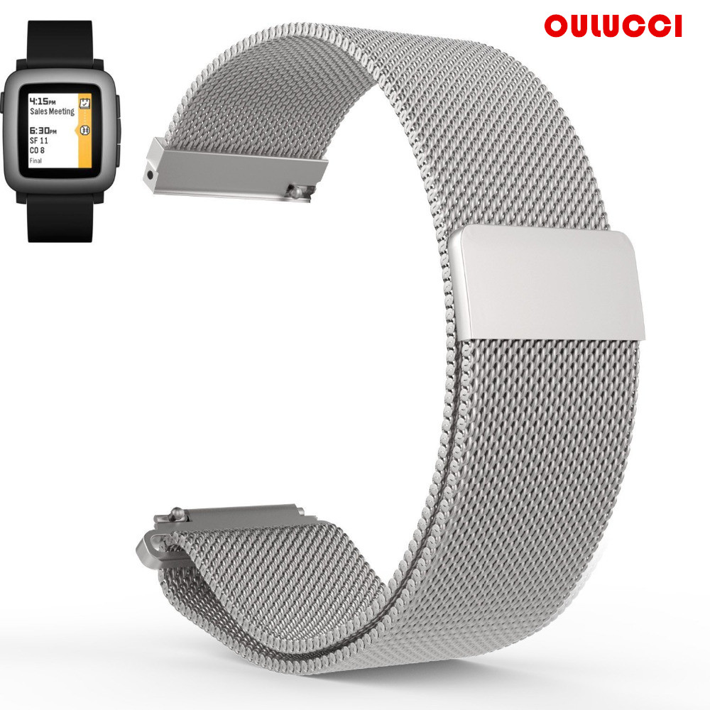 22mm Replacement Watch Bands for Pebble Time Magnetic  Mesh Loop Stainless Steel Magnet Lock Band for Pebble Time 2 Black|watch band|replacement band|band replacement - title=