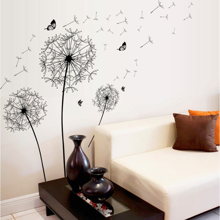 [Fundecor] Large Black Dandelion Flower Wall Stickers Home Decoration  Living Room Bedroom Furniture Art Decals Butterfly Murals In Wall Stickers  From Home ...