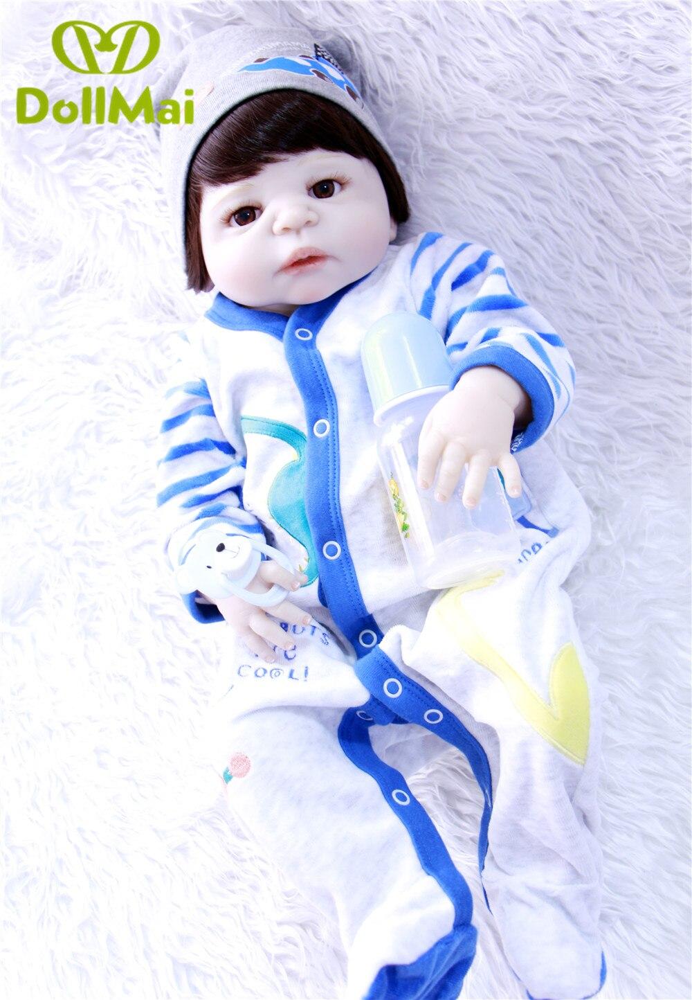 Красивые коричневые волосы девушкая силиконовая боди для новорожденных, для девочек куклы реалистичные новорожденных Детская кукла винил... - 6