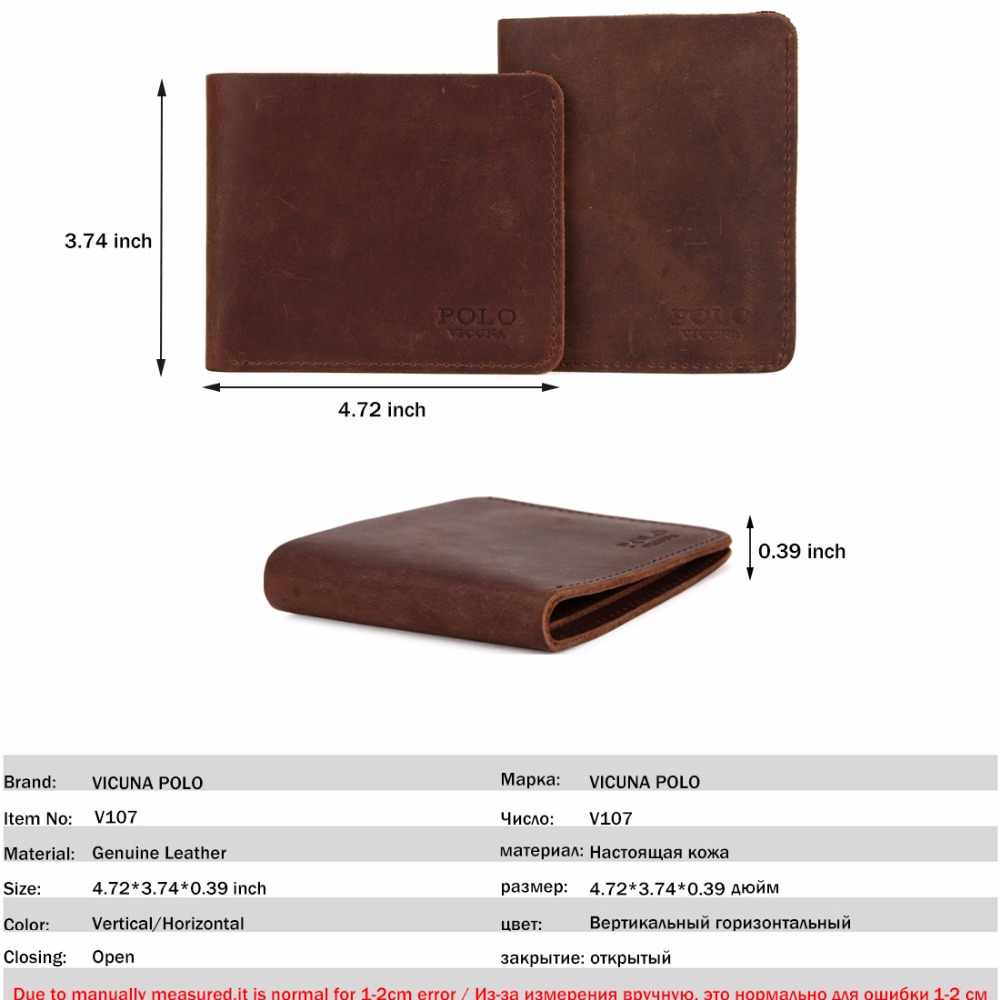 6a9fda5fc1 ... VICUNA POLO Natural Genuine Leather Man Wallet Vintage Simple Design  Men's Slim Short Wallet Crazy Horse ...