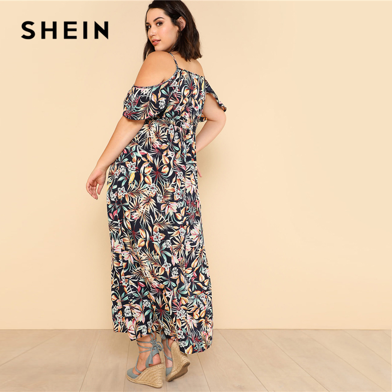 5a69d4209a SHEIN Open Shoulder Tropical Wrap Dress 2018 Summer Spaghetti Strap V neck  Ruffle Dress Women Plus Size Beach Belted Dress-in Dresses from Women's  Clothing ...