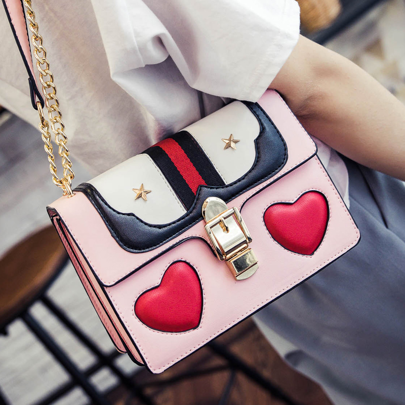 2017 new summer love double bag bag Korean hit color small package chain lock single shoulder