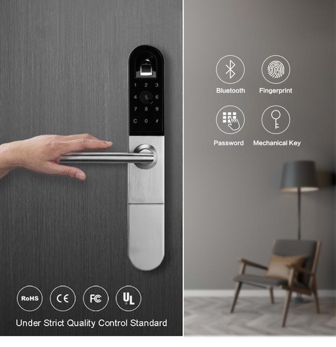European Bluetooth WiFi Biometric Fingerprint Door Lock For Aluminum sliding or swing door with 3585 mortise