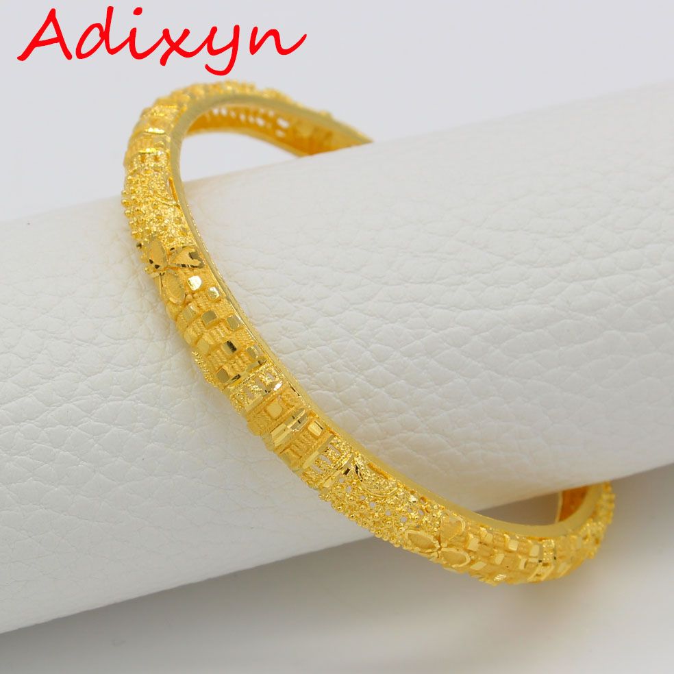 Adixyn 6.3cm/2.3 inch Bangles For Women Gold Color Bangles&Bracelets African/Ethiopian/Arab/Middle East Party Gifts N0021