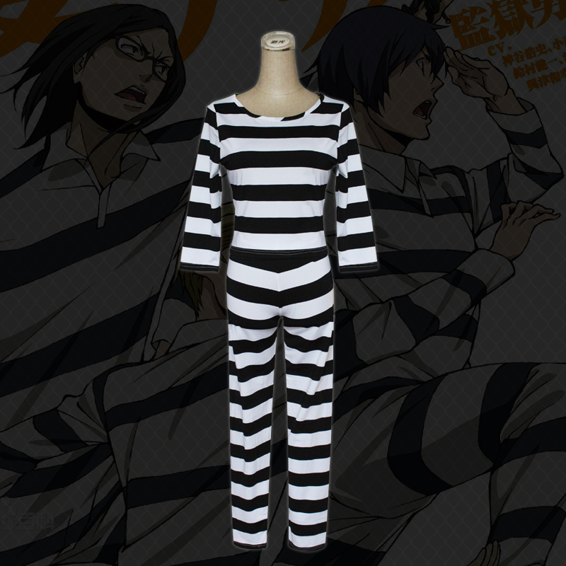 Kangoku Gakuen Prison School Cosplay Costume Shiraki Meiko Midorikawa Hana Prison Uniform Women Pajamas Suit Casual Clothing Set