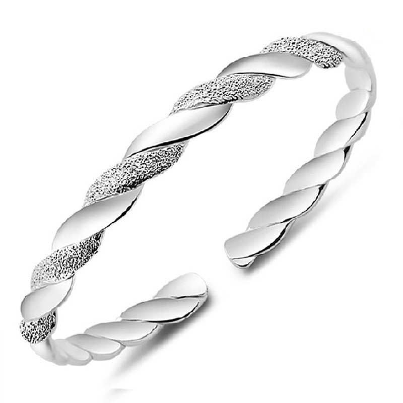 ER 2016 Silver Twist Spiral Bracelet Wish Female Cuff Bangle Braclet for Women Fashion J ...