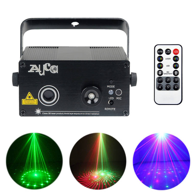 AUCD Mini 12 RG Patterns Remote Laser Projector Lights 3W Blue LED Mix Effect DJ Club Home Party Show Music Stage Lighting L12RG led laser stage lighting 24 or 96 patterns rg mini red green laser projector 3w blue light effect show for dj disco party lights